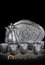 Сервиз серебряный — кувшин, поднос и 6 стаканов
